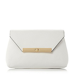 Dune - White 'Eugenie' envelope turn lock clutch bag