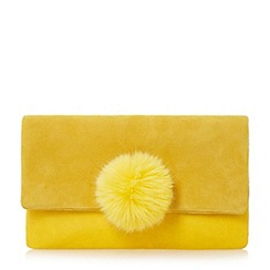 Dune - Yellow 'Epommy' pom pom flap over clutch bag