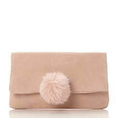 Dune - Natural 'Epommy' pom pom flap over clutch bag