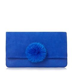 Dune - Blue 'Epommy' pom pom flap over clutch bag