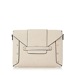 Dune - Natural 'Ezzra' stud detail flap over clutch bag