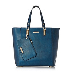 Dune - Navy 'Dana' metallic oversized tote bag