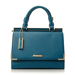 Dune - Navy-synthetic 'Daffie' structured top handle handbag