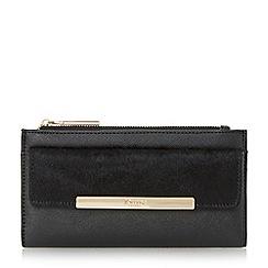 Dune - Black 'Klimline' slim two zipper top purse