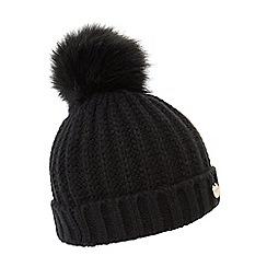 Dune - Black 'Felicia' knitted pom pom beanie hat