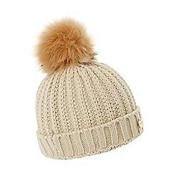 Dune - Camel 'Felicia' knitted pom pom beanie hat