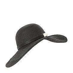 Dune - Black 'Fortune' straw floppy hat