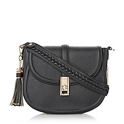 Dune - Black 'Deidre' tassel detail saddle bag