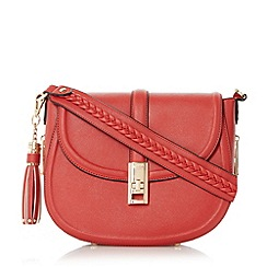 Dune - Red 'Deidre' tassel detail saddle bag