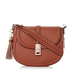 Dune - Tan 'Deidre' tassel detail saddle bag