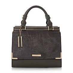 Dune - Grey 'Daffie' contrast flap over pocket top handle handbag