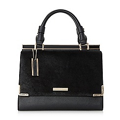 Dune - Black 'Daffie' contrast flap over pocket top handle handbag