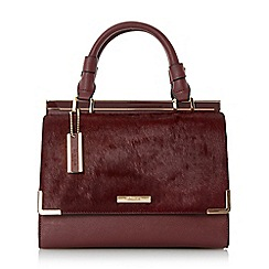 Dune - Dark red 'Daffie' contrast flap over pocket top handle handbag