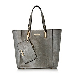 Dune - Grey 'Dana' metallic oversized tote bag