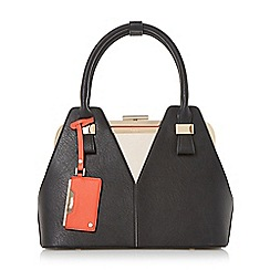 Dune - Black 'Dorah' colour block frame detail handbag