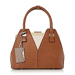 Dune - Tan 'Dorah' colour block frame detail handbag
