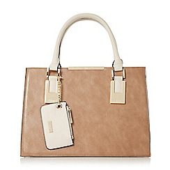 Dune - Taupe 'Deedee' structured top handle handbag