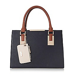 Dune - Navy 'Deedee' colour block structured handbag