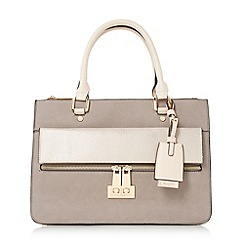 Dune - Grey 'Dizele' structured multi compartment top handle bag