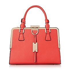 Dune - Red-synthetic 'Diana' structured metal frame top handbag