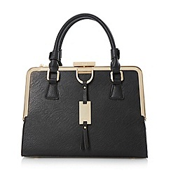 Dune - Black structured metal frame top handbag