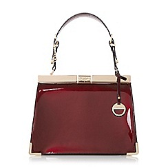 Dune - Dark red 'Danni' metallic corner trim structured frame bag