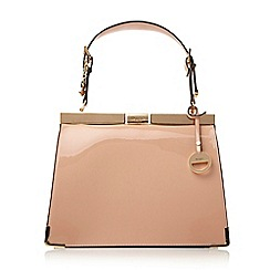 Dune - Nude-patent 'Danni' metallic corner trim structured frame bag