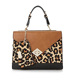 Dune - Leopard structured colour block top handle bag with pouch