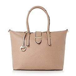 Dune - Taupe 'Deannah' studded shopper bag
