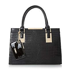 Dune - Black 'Deedee' structured top handle handbag