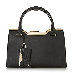 Dune - Black 'Deyonce' structured frame detail top handle bag