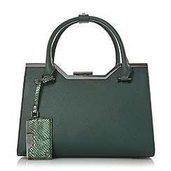 Dune - Green 'Deyonce' structured frame detail top handle bag