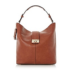 Dune - Brown turnlock front strap hobo bag