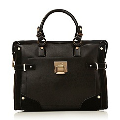 Dune - Black 'Dellta' hardware detailed top handle bag
