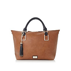 Dune - Brown double top handle tote bag