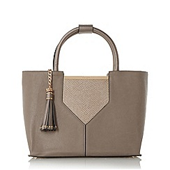 Dune - Grey 'Doreen' v-panel top handle tote bag