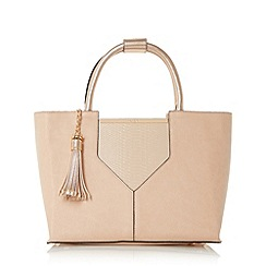 Dune - Natural 'Doreen' v-panel top handle tote bag