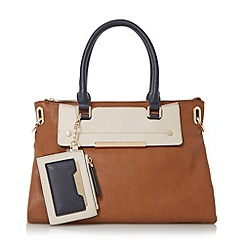 Dune - Tan 'Danniella' slouchy double top handle handbag