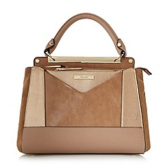 Dune - Taupe 'Drayson' patchwork top handle bag
