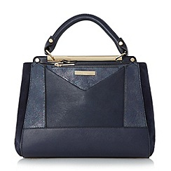Dune - Navy 'Drayson' patchwork top handle bag