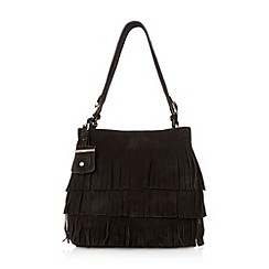 Dune - Black 'Darwin' suede fringed shoulder bag