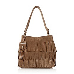 Dune - Tan 'Darwin' suede fringed shoulder bag