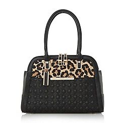 Dune - Black 'Dee' quilted twin zip tote bag