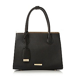 Dune - Black 'Dependra' saffiano double top handle bag