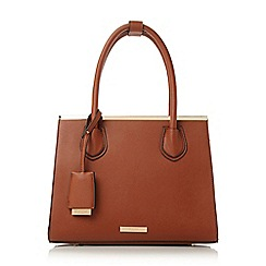 Dune - Tan 'Dependra' saffiano double top handle bag