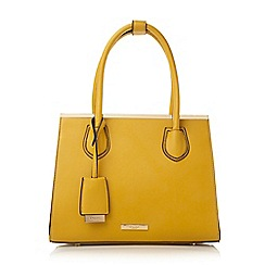 Dune - Dark yellow 'Dependra' saffiano double top handle bag