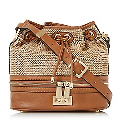 Dune - Tan 'Duffia' raffia cross body duffle bag