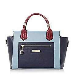 Dune - Navy 'Darrah' colour block top handle bag