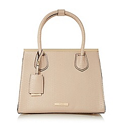 Dune - Natural 'Dependra' saffiano double top handle bag