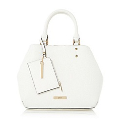 Dune - White 'Dibby' purse charm shopper bag